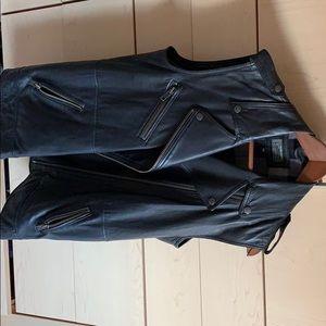 Current Elliott black leather biker vest size 2